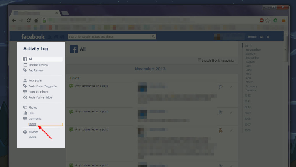 How to locate group activity within Facebook's Activity Log