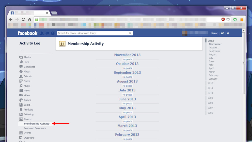 Membership activity as it appears in Facebook's Activity Log
