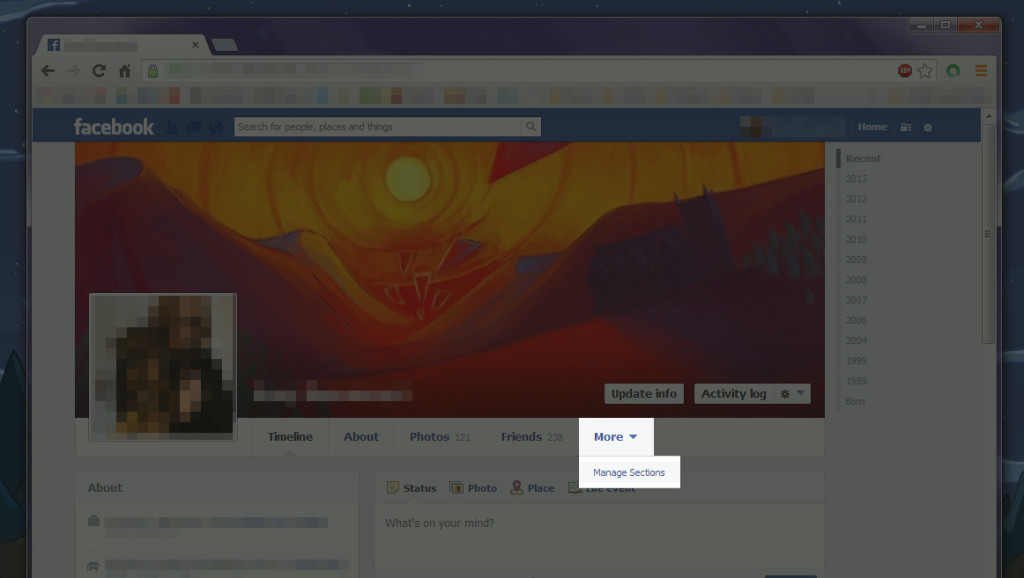 Managing which sections are shown on your Facebook profile