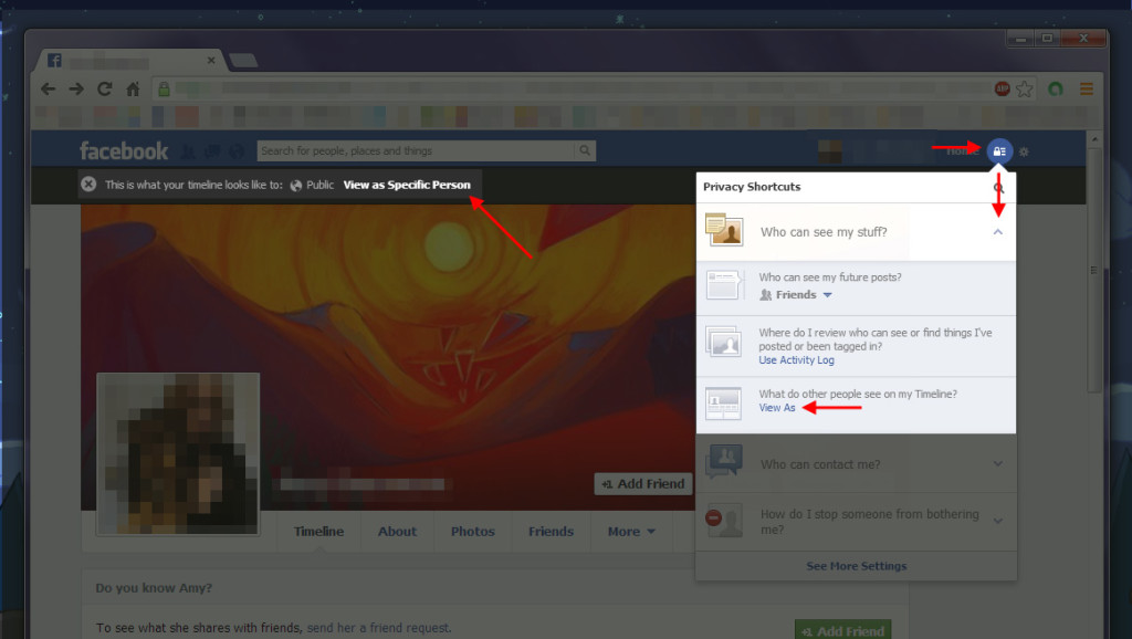 How to view your Facebook profile as it appears publicly, or as a specific person.